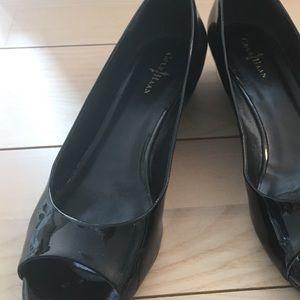 Cole Haan open toe wedge heels.